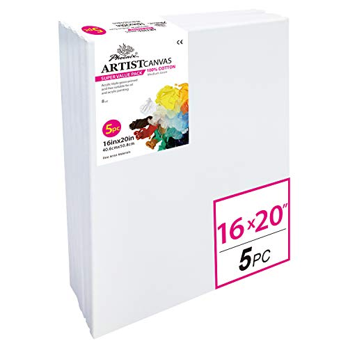 PHOENIX Pre Stretched Canvas for Painting - 16x20 Inch / 5 Pack - 5/8 Inch Profile of Super Value Pack for Oil & Acrylic Paint