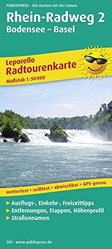 Rhein-Radweg 2, Bodensee-Basel: Leporello Radtourenkarte mit Ausflugszielen, Einkehr- und Freizeittipps, reissfest, wetterfest, beschriftbar und ... 1:50000 (Leporello Radtourenkarte / LEP-RK)