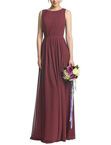 Shiningdress Women's Backless Pleats Chiffon Bridesmaid Dresses Size 8 Burgundy
