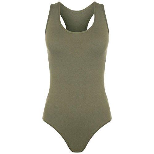 MIXLOT Damen Damen Neuer Muskel Racer Rücken Ärmellos Bodysuit Stretch Trikot Weste T-Shirt Top Khaki