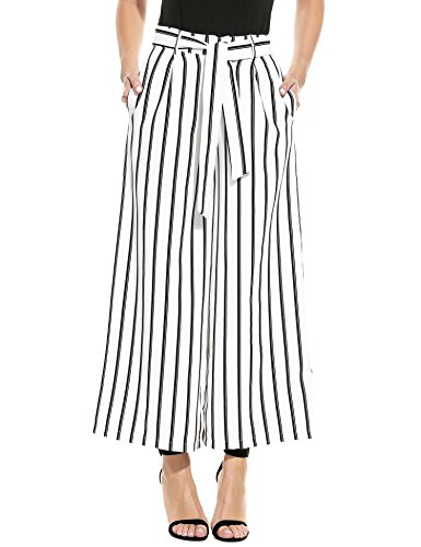 Nessere Women's Striped High Waisted Lounge Wide Leg Comfy Vintage Palazzo Pants (Top Pants Cropped Striped &)