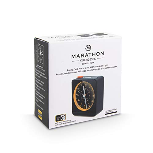 Marathon Alarm Clock Warm Auto Back Light and Repeating Snooze.