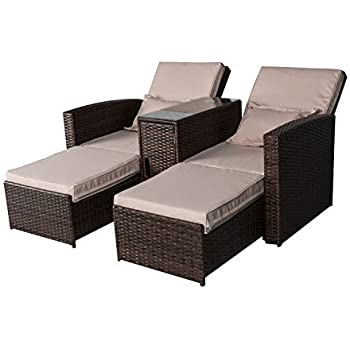 Amazon Abba Patio Chaise Lounge Chair Set Outdoor Rattan
