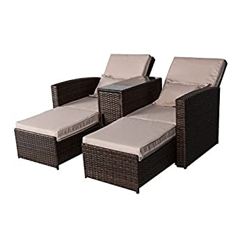 Amazon Outsunny 3 Piece Outdoor Rattan Wicker Chaise Lounge