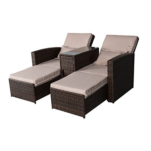 Outsunny 3 Piece Outdoor Rattan Wicker Chaise Lounge Furniture Set