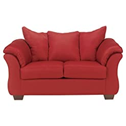 Farmhouse Living Room Furniture Signature Design by Ashley – Darcy Microfiber Loveseat, Salsa Red farmhouse sofas and couches