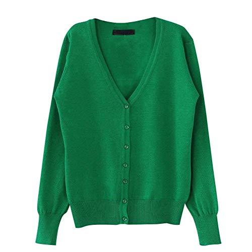 Primaverile Maglioni Colore Autunno Puro A Maglia Maniche Grazioso Casual Verde Stlie Cappotto Pullover Lunghe Single Fashion Giacca V Donna Eleganti Breasted neck UzwBBqp