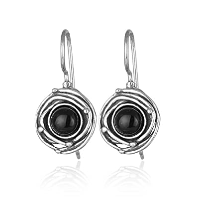Nice Vintage Style 925 Sterling Silver Genuine Black Onyx Earrings with Swirl Design and Secure Backs