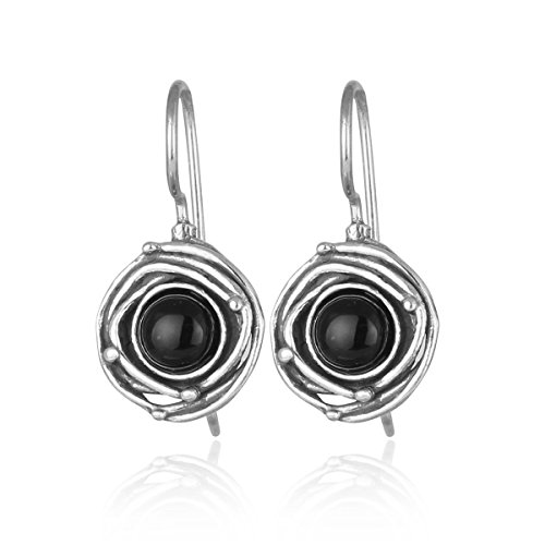 Vintage Style 925 Sterling Silver Genuine Black Onyx Earrings with Swirl Design and Secure Backs (Wire Onyx Dangle Earrings)