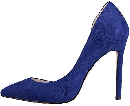 Calaier Damen Cawarm 11CM Stiletto Schlüpfen Pumps Schuhe Blau