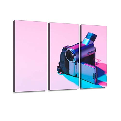 Close up View of Digital Video Camera on Pink Background Print On Canvas Wall Artwork Modern Photography Home Decor Unique Pattern Stretched and Framed 3 Piece