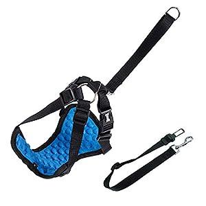 Dog Safety Vest Car Harness Seatbelt Set Adjustable Safety Mesh Harness Travel Strap Vest with Adjustable Seat Belt… Click on image for further info.