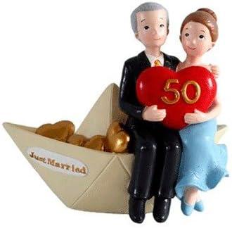 DISOK - Figura Pastel 50 Aniversario Barco - Figuras Tarta, Pastel Aniversarios Bodas de Oro Baratas