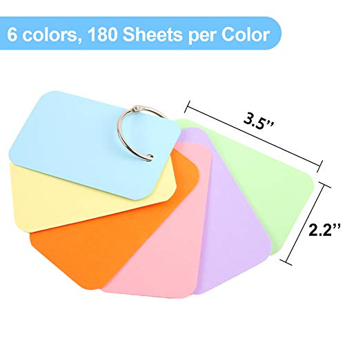 Koogel 1080 Pcs Colored Index Cards, 6 Kinds Colored Notecards Index Cards Flash Cards Blank for School Learning Memory Recipe Cards Children\'s Game