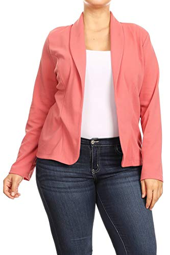 Plus Size Casual Solid Basic Long Sleeve Blazer Cardigan Jacket/Made in USA Dusty Pink 3XL