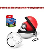 Carrying Case and Clear Protective Case for Nintendo Switch Poke Ball Plus Controller,2 in1 Accessory Bag for Pokémon Let's Go Pikachu Eevee Game for Nintendo Switch (Carrying Case+ Clear Case)