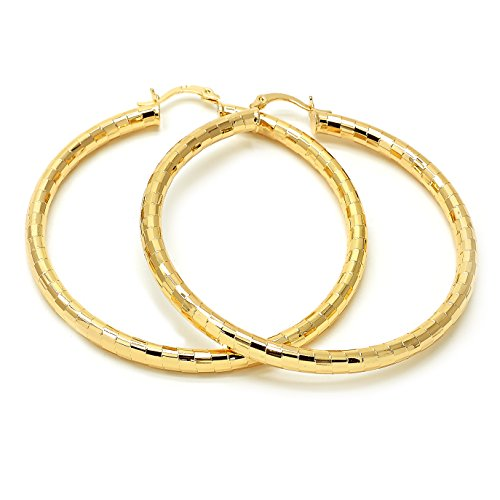 Stunning 14K Gold Plated Women Hoop Earrings, 4 MM. 20 MM to 80 MM (80 MM)