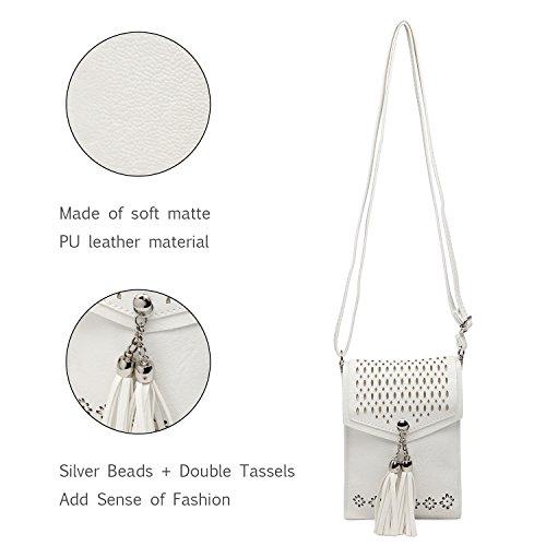 Women Small Crossbody Bag, seOSTO Tassel Cell Phone Purse Wallet Bags (White) … by seOSTO (Image #5)