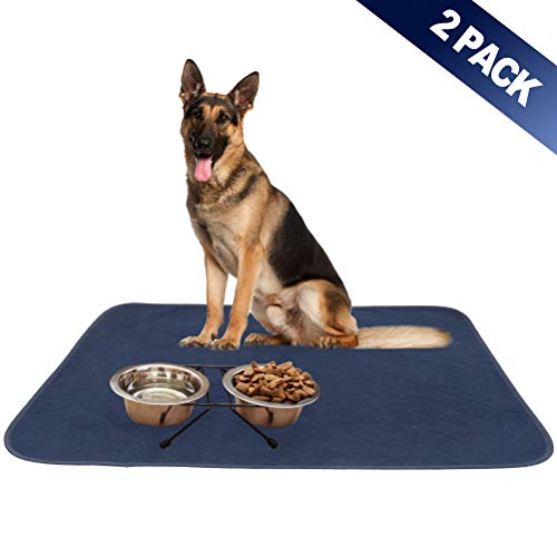 - SCIROKKO 2 Pack Dog Food Mat - Highly Absorbent Reusable & Washable Pee Pads - Non Slip & Waterproof Dog Bowl Mat - Pet Crate Mat for Puppy Cat - Large