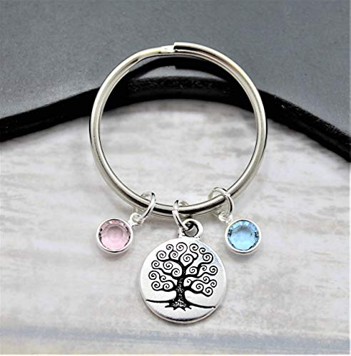 Family Tree Mother's Day Birthstone Keychain - Gift for Mom - Fast Shipping
