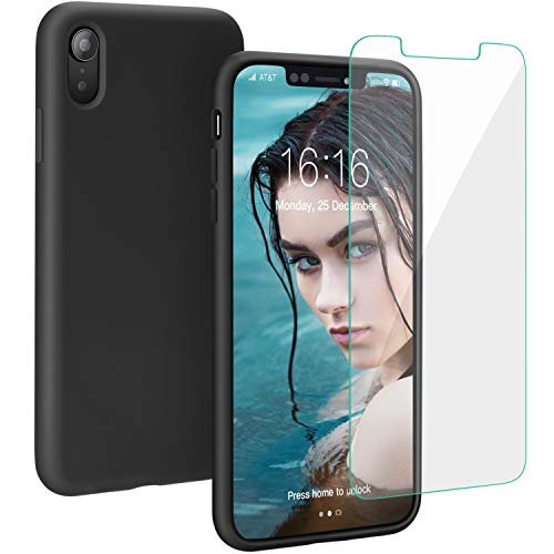 Case for iPhone XR, Muntinfe Liquid Silicone Full Protective Shockproof Cover Case with Free Screen Protector Gel Rubber Anti-Scratch Case for Apple iPhone XR 6.1