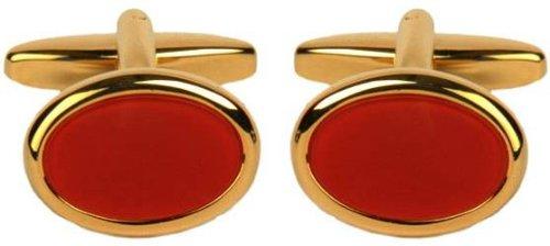 (David Van Hagen Mens Gold Plated Cornelian Oval Cufflinks - Red/Gold)