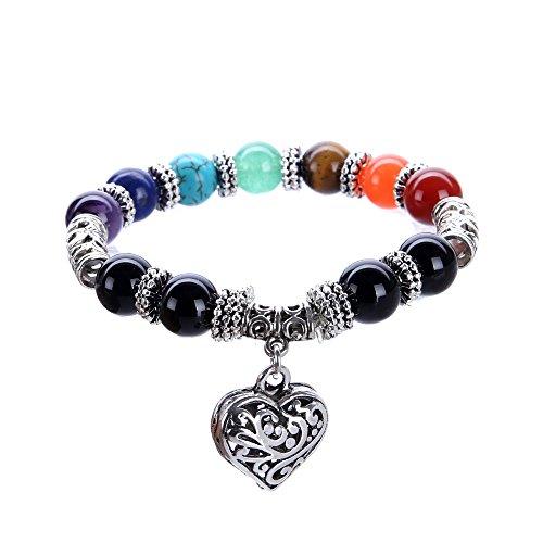 VIKI98 10MM 7 Chakra Religion Healing Balance Stone Beaded Bracelet Yoga Reiki Charm Heart Bracelets