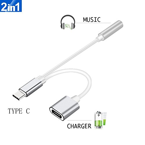 2 in 1 USB C Type C to 3.5mm Headphone Audio Aux Jack & Char