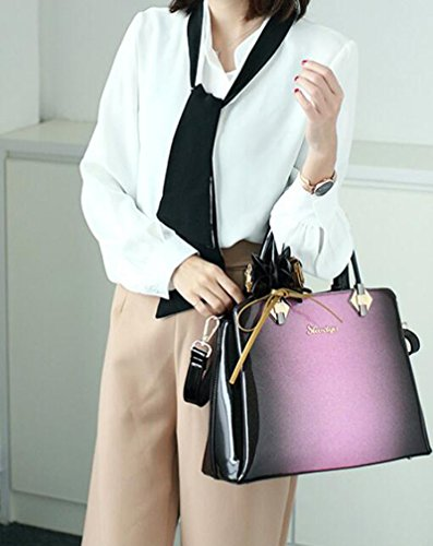 Flower Designer Purple Casual Bag Tote Purple Pattern Women Leather Handle Top Patent Office qrYqa
