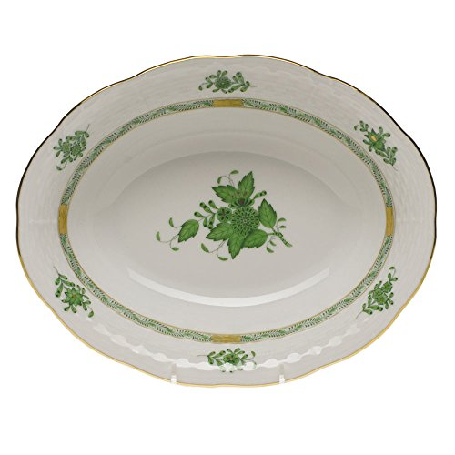 (Herend Chinese Bouquet Green Oval Vegetable Dish )