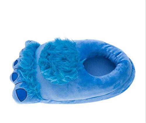 Aksautoparts Unisexe Adulte Bande Dessinée Coton Hobbit Grands Pieds Pantoufles Chaussures Intérieur Chaleur Bleu