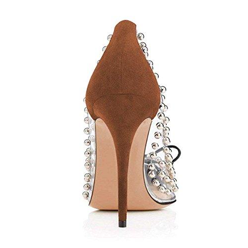 Stiletto Women Shoes for 15 Ornament Heels Size Pumps Dress Sphere US Fashion Brown FSJ Transparent 4 q04UwU