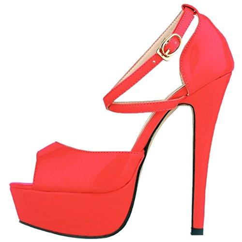 HooH Women's Elegance Cross Ankle Strap Peep Toe Stiletto Platform Sandals Dress Pump Red kk51YmYH