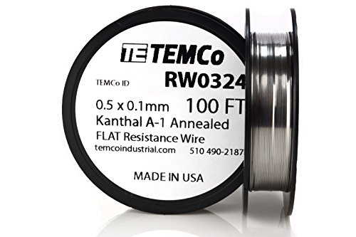 TEMCo Flat Ribbon Kanthal A1 Wire 0.5mm x 0.1mm 100 Ft Resistance (0.5' Component)