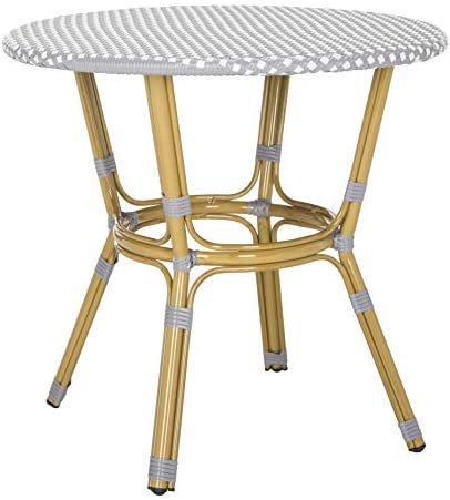 Safavieh PAT4012B Outdoor Collection Sidford Grey and White Rattan Bistro Table
