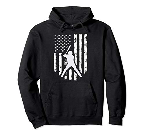 (American USA Flag Baseball Hoodie Distressed Hooded Top Gift)