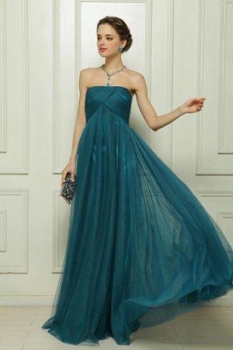 Damen Tuell Empire Dearta Kleidungen Dunkelgruen Traegerlos Aermellos Reissverschluss Abendkleider Bodenlang SxRq0vwdq