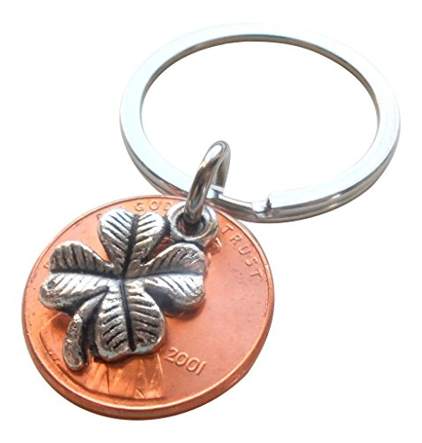 Clover Charm Layered Over 2001 US One Cent Penny Keychain, 17 Year Anniversary Gift, Birthday Gift, Couples Keychain