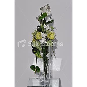 Tall White Calla Lily, Green Gerbera and Anthurium Floral Arrangement 60