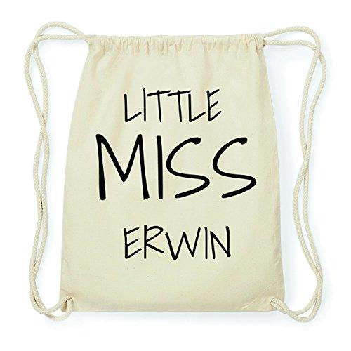 JOllify ERWIN Hipster Turnbeutel Tasche Rucksack aus Baumwolle - Farbe: natur Design: Little Miss