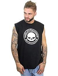 Mens Willie G Skull Circle Black Sleeveless Muscle T-Shirt
