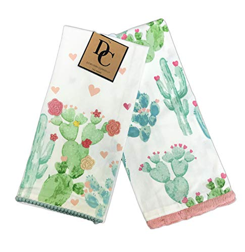 Watercolor Cacti with Embroidered Flowers & Decorative Fringe Set of Two Kitchen Hand Tea Towels