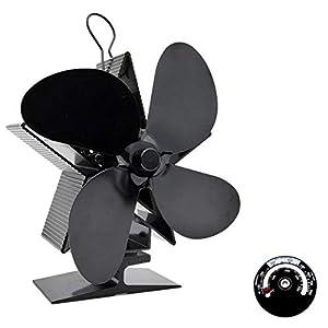 AHWZ 4-Blade di Calore Alimentata Stufa Ventilatore per Legno/Log Burner/Camino,Nero 4 spesavip