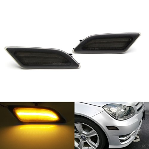 iJDMTOY (2) Euro Smoked Lens Amber LED Side Marker Lights Fit 2012-2014 Mercedes Benz W204 LCI C250 C300 C350 Sedan/Coupe