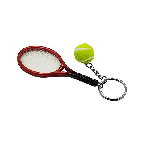 SPHTOEO Creative Alloy Sport Style Tennis Ball Keychain Tennis Racket Key Chain Key Ring 5 Color Set Photo #2