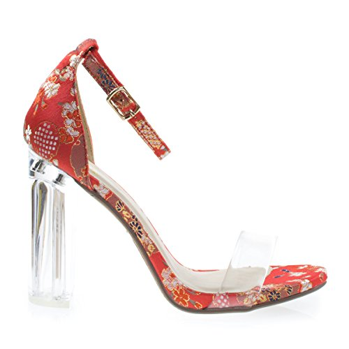 Clear Perspex Block Heel Sandal Embroidery Stitch Print, Transparent Strap Red Ginza