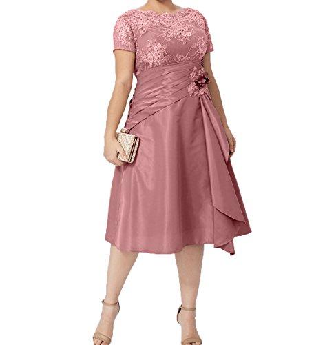 mit Abendkleider Brautmutterkleider Kurzarm Alt Formalkleider Damen Charmant Ballkleider Festlichkleider Rosa Knielang Kurzes 80nIT