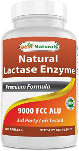 Best Naturals Lactose Intolerance Relief Tablets with Natural Lactase Enzyme, Fast Acting High Potency Lactase, 9000 FCC…