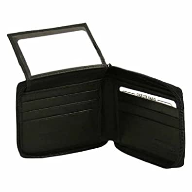 Black Leather Mens Zippered Bifold Wallet