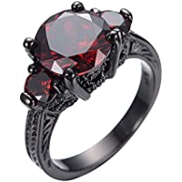 pimchanok Ruby Engagement Ring Red Garnet 10KT Black Gold Filled Wedding Jewelry Size 5-10 (9)